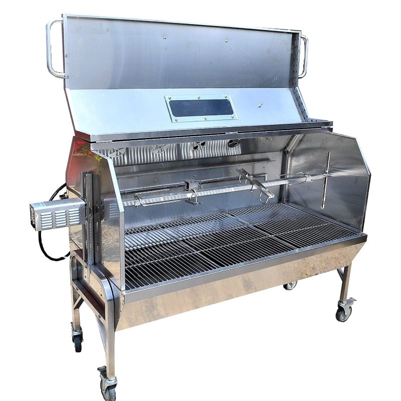59 stainless steel propane gas charcoal spit rotisserie. Black Bedroom Furniture Sets. Home Design Ideas